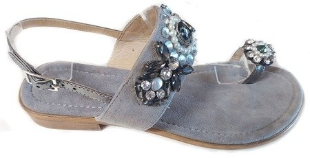 Donna Fabiani stylowe skórzane klapki KG19 GREY