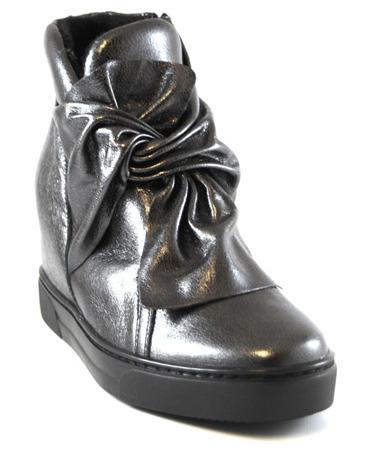 Eksbut skórzane srebrne botki sneakersy z kokardą 4645